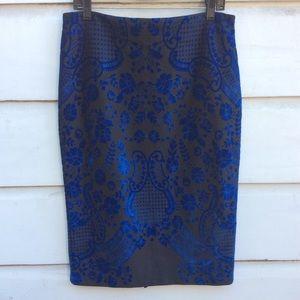 ECI New York black/blue cut velvet pencil skirt L